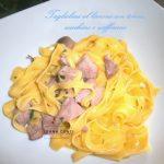 Tagliolini al limone con zucchine zafferano e dadolata di tonno