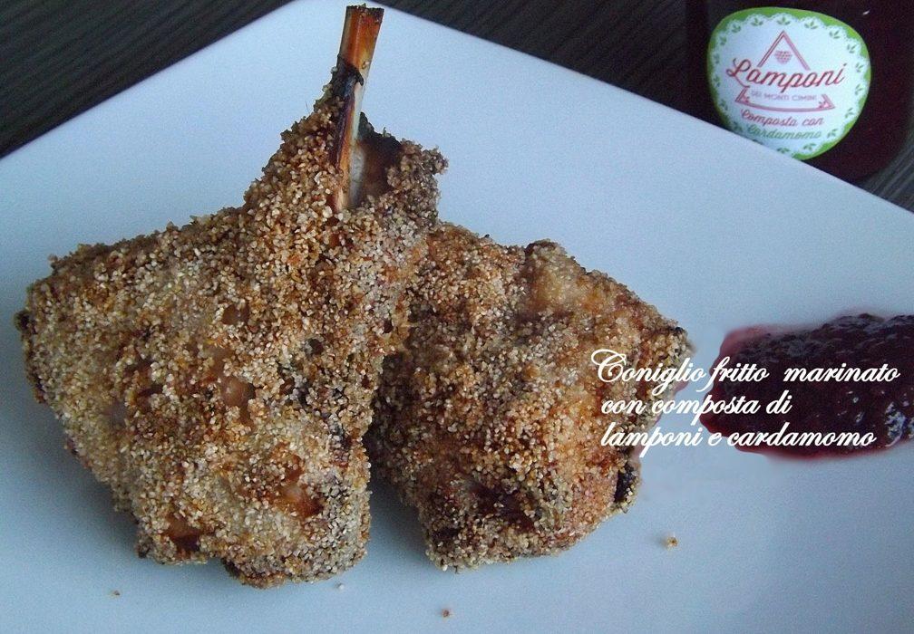 Coniglio fritto marinato con composta di lamponi al cardamomo