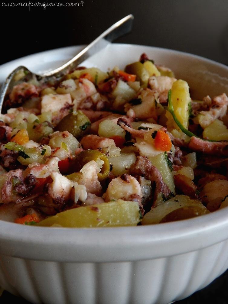 Insalata di polpo con asparagi di Bassano, patate e verdure miste