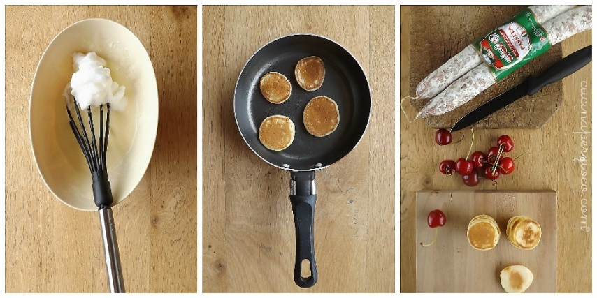 Tris di aperitivo per Clai: Mini Pancakes con salsiccia Passita e ciliegie