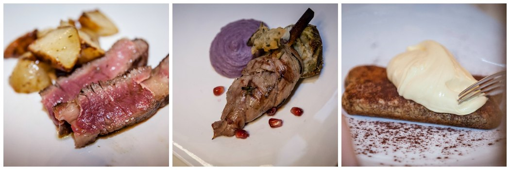 Filetto di agnello Irlandese Biologico intrecciato alla griglia,Tagliata di tronchetto scalzato di manzo Irlandese alrosmarino,Tiramisù scomposto del Bocondivino