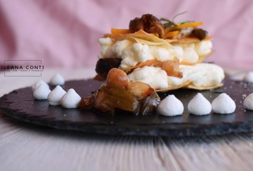 Mousse al formaggio e fichi caramellati in finta milelfoglie di pasta phillo